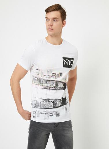 Koton Bisiklet Yaka Kisa Kollu %100 Pamuk Yazılı Baskılı T-Shirt Beyaz